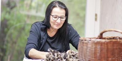 Die Pilzkontrolleurin Ruth Bänziger prüft die vorbeigebrachten Pilze genau.