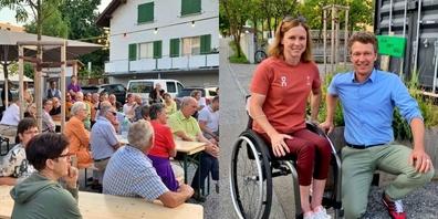 Ein grosses Publikum und Stadtrat Luca Eberle (r.) hörten aufmerksam den spannenden Erzählungen von Sandra Stöckli zu.