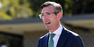NSW Premier Dominic Perrottet speaks to the media during a press conference at Randwick Bowling Club in Sydney, Monday, October 18, 2021. (AAP Image/Bianca De Marchi) NO ARCHIVING