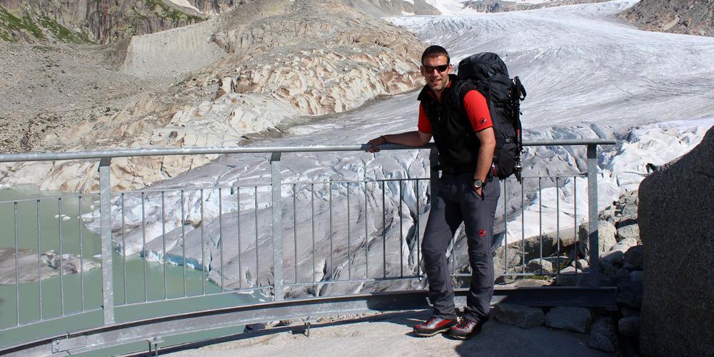 Für einmal nicht in der Ostschweiz unterwegs. Der St.Galler Blogger Patrick Stämpfli nach einer Tour über den Rhonegletscher im Kanton Wallis.