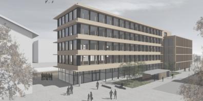 Visualisierung des geplanten Schreiner Kompetenzzentrum in St.Margrethen. Der Neubau direkt am Bahnhof soll auf den Start des Schuljahres 2025/26 bezugsbereit sein. Visualisierung: RLC