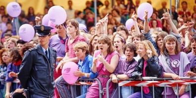 Streikende Frauen am nationalen Frauenstreiktag am 14. Juni 1991 in Bern.