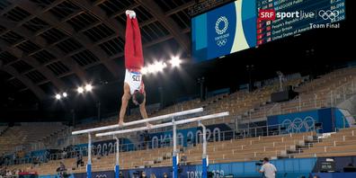 Weltklasse Leistung von Pablo Brägger am Team-Wettkampf vom 26. Juli 2021 in Tokio.