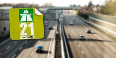 Die Autobahnvignette 2021 hat die Grundfarbe «grün metallic».