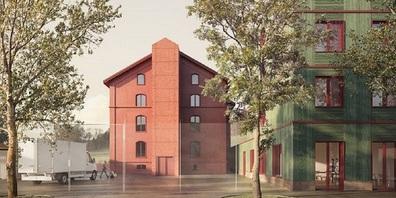 Visualisierung Siegerprojekt: Sollberger Bögli Architekten AG, Biel / Strafanstalt Rotes Haus (Bestand) und Neubau.
