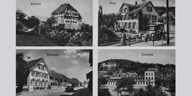 Markante Gebäude auf einer Postkarte, welche die Dorfgeschichte prägten (v. l. ): Schloss, Alte Post,  Restaurant Eintracht mit Tante Emma-Laden und ehemalige Weberei / Stickerei.