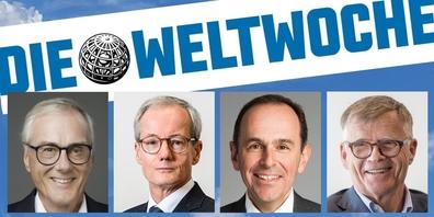 Aus dem Weltwoche-Bericht: Reiche Verleger sollen noch mehr Staats-Subventionen erhalten (v.l.n.r.): Michael Ringier (Ringier-Verlag), Philippe Hersant (ESH Médias), Pietro Supino (TX Group) und Peter Wanner (CH Media).