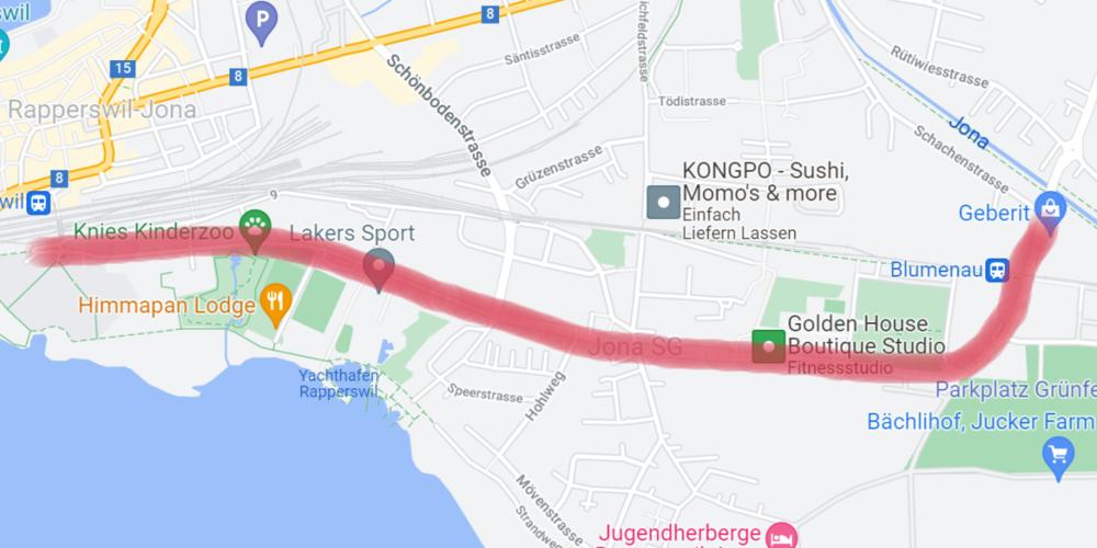Am Samstag wird die Oberseestrasse ab der Kreuzung Schachenstrasse/Oberseestrasse auf der Höhe Geberit bis zur OST (Technikum) resp. Bahnhof Rapperswil für den Verkehr gesperrt.