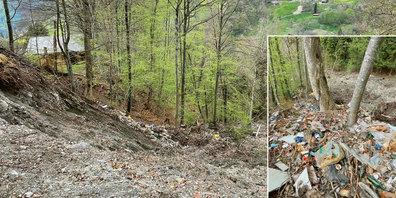 Die Gründeponie in Fanas ist abgerutscht, wobei Müll der ursprünglichen Deponie zutage gefördert wurde.