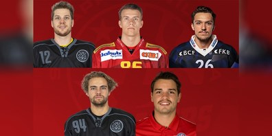 Die Zugänge sind: (v.o.l.n.o.r) Dominic Lammer, Alain Bircher, David Aebischer und (u.l) Sandro Zangger. Der Vertrag mit Sandro Forrer (u.r.) wurde verlängert.