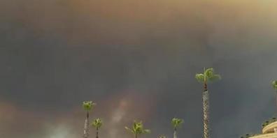 Dunkler Rauch zieht über einen Hotelkompex in der türkischen Urlaubsregion Antalya hinweg. Winde trieben die Flammen mehrerer Waldbrände in Richtung der Wohnbezirke, wie der Landrat des Bezirks Manavgat dem Sender CNN Türk sagte. Foto: Cevin Dettl...