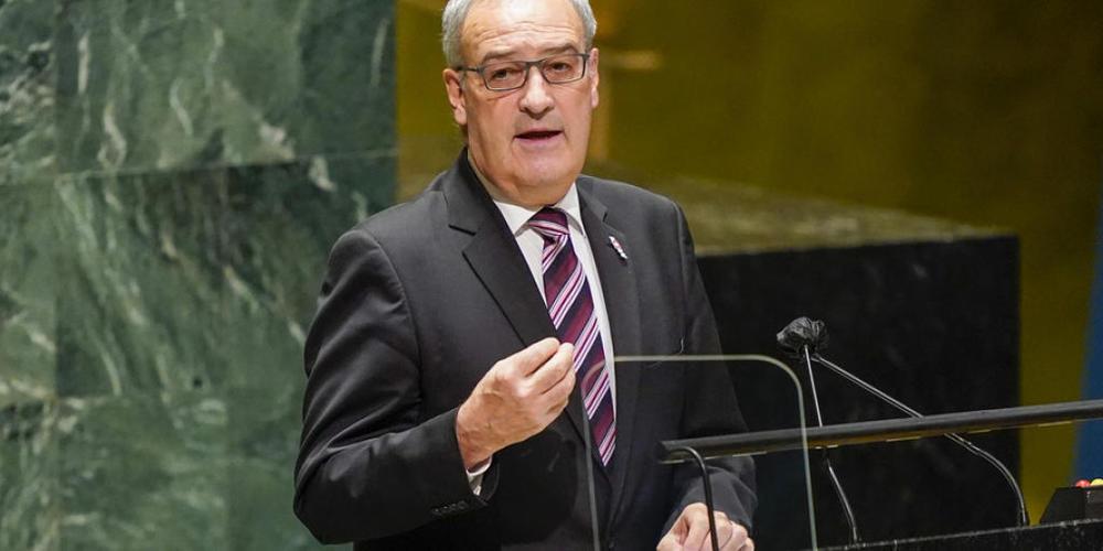 Der Schweizer Bundespräsident Guy Parmelin bei seiner Rede vor der Uno-Generalversammlung in New York.