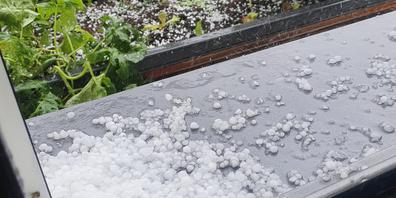 In Siebnen hagelte es am Montag.