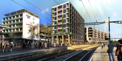 Visualisierung Kopfbau Projekt Untere Bahnhofstrasse 1 - 11, Wil