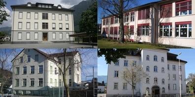 Hohe Radonwerte wurden u.a. in den Schulhäusern Oberdorf in Schänis (l.o.), Dorf (l.u.) und Obergass (r.o.) in Eschenbach sowie Altbreiten (r.u.) in Kaltbrunn gemessen.