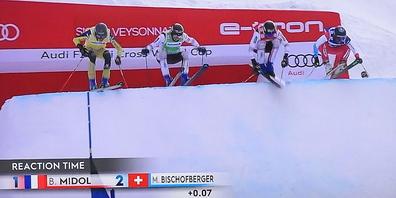 Beim Start war Bischofberger (ganz rechts) noch vorne mit dabei...