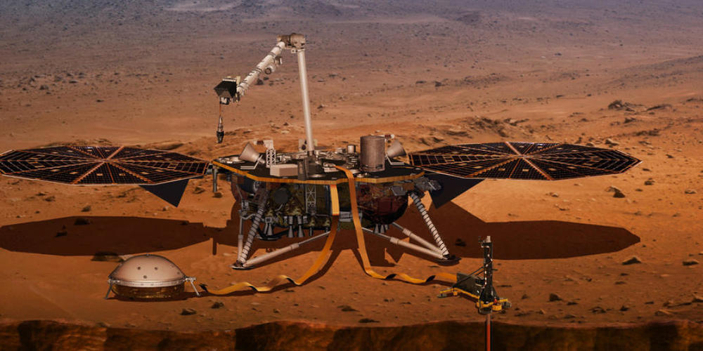 Der Mars-Lander Insight - im Bild eine künstlerische Darstellung - registriert derzeit erhöhte Bebenaktivität. InSight ist die Abkürzung für Interior Exploration using Seismic Investigations, Geodesy and Heat Transport (Nasa).