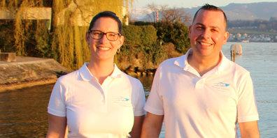 Betreiben die «Motorbootfahrschule Zürichsee»: Tanja und Antonio Gallelli-Wentsch.