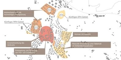 Eine Karte zur Innenentwicklung Zentrum und zu den Wohnschwerpunkten der Gemeinde Benken.