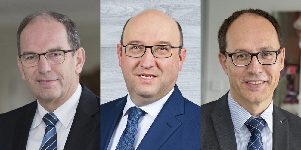 Angekündigt als Teilnehmer waren u.a. die Regierungsräte (v.l.n.r.) Bruno Damann, Beat Tinner und Marc Mächler.