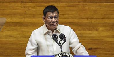 Rodrigo Duterte, Präsident der Philippinen, spricht bei einer Rede im Repräsentantenhaus. Foto: Jam Sta Rosa/Pool Agence France Presse/AP/dpa