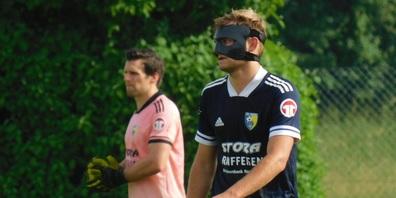 Michel Lanker konnte nach seinem Nasenbeinbruch - mit Schutzmaske - wieder spielen.