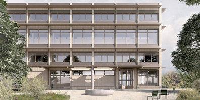 Visualisierung des Ersatzneubaus des Bezirksgerichts Hinwil.