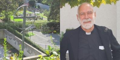 Pfarrer Felix Büchi (r.) führt durch den Friedhof Jona und gibt Auskunft.