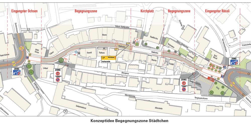 Gemäss Konzept soll in der Begegnungszone im Uzner Städtli die Höchstgeschwindigkeit 20 km/h betragen.