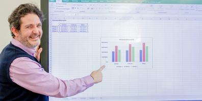 Boris Litmanowitsch versucht bei Compucollege die Vermittlung von Excel, Teams, Outlook und Co. stets wie eine Galaaufführung zu inszenieren.