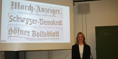 Sarina Holiner wurde für ihre Arbeit mit Zeitungsbeiträgen aus den Archiven von March Anzeiger, Höfner Volksblatt und Schwyzer Demokrat unterstützt.