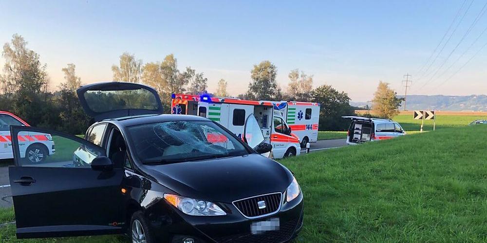 Der Personenwagen kam nach einem missglückten Überholmanöver in Friltschen TG von der Strasse ab. Das Fahrzeug erfasste am Strassenrand eine 22-jährige Fussgängerin und einen 26-jährigen Fussgänger. Die Frau wurde schwer, der Mann mittelschwer ver...