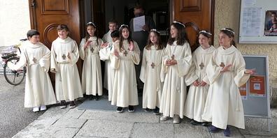 Die Erstkommunikanten von Berneck konnten endlich die einstudierten Lieder vortragen