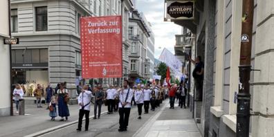 Mit Sujets wie «Zurück zur Verfassung» zogen die Demonstranten durch die Stadt St.Gallen.