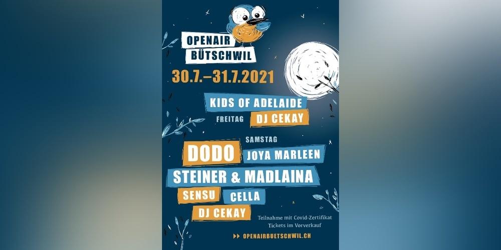 Offizielles Plakat für das Open Air Bütschwil vom 30. bis 31. Juli 2021.