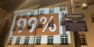 Auf einer Hauswand am Gallusplatz in St.Gallen wurde das Logo der 99%-Initiative der Juso eingeblendet.