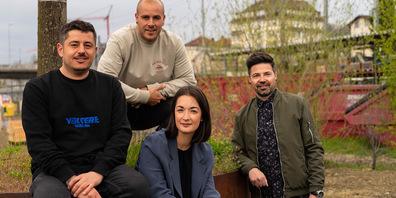 Manuel Moreno, Thomas Murschetz, Katja Schlegel und Michel Staubli kümmern sich um das gastronomische Angebot auf dem Areal Bach.