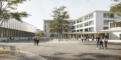 So soll sich das neue Bezirksschulhaus in Lachen inklusive Pausenplatz künftig präsentieren.