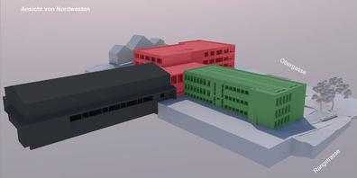 Visualisierung des Primarschulhausprojekts, Ansicht von Nordwesten.