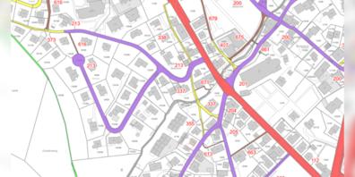 Gesamtstrassenplan, der der öffentlichen Mitwirkung unterstellt wird.