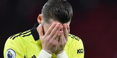 Manchester Uniteds Goalie David De Gea kann nicht glauben, welchen Nachmittag er im Old Trafford erlebt