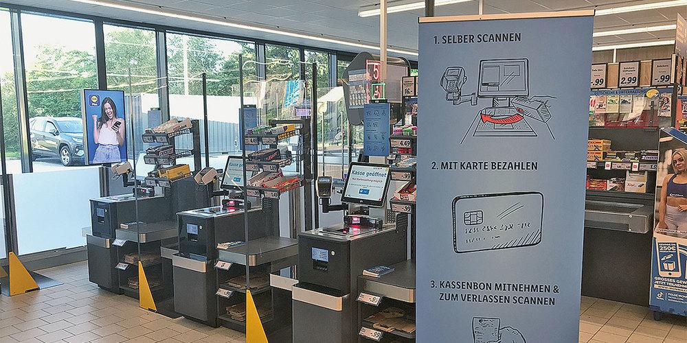 Bei der umgebauten Landquarter Lidl-Filiale sind neu zusätzlich  Self-Checkout-Kassen eingebaut worden.