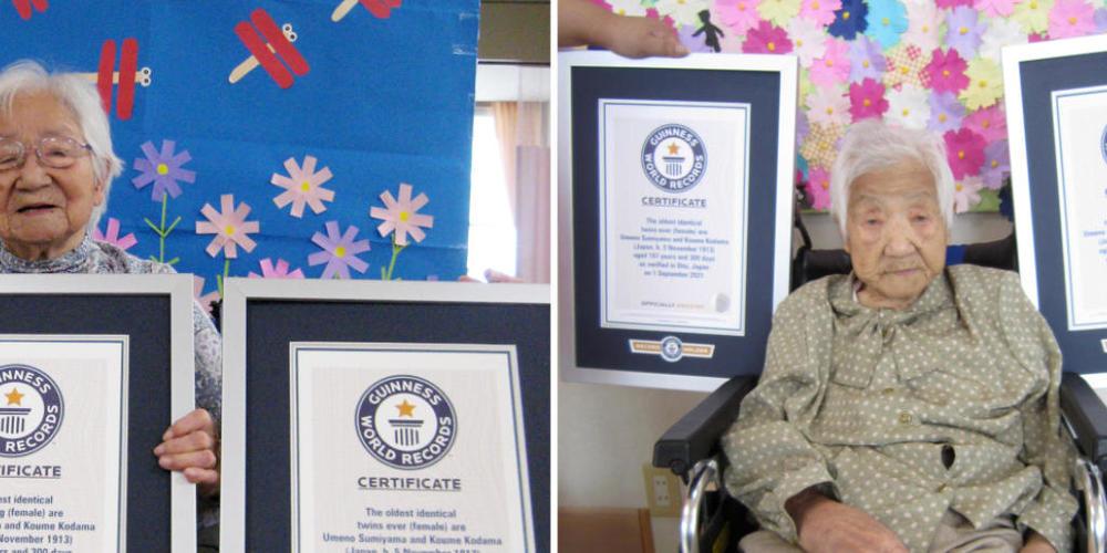 Diese Kombination aus zwei undatierten Fotos, die von Guinness World Records am Dienstag, 21. September 2021, veröffentlicht wurde, zeigt die Schwestern Umeno Sumiyama (l) und Koume Kodama in verschiedenen Pflegeheimen auf der Insel Shodoshima (l)...