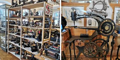 Das Textilmuseum Sorntal verfügt über eine Nähmaschinensammlung von rund 100 Exponaten; Dieses wertvolle Unikat (rechtes Bild) von 1900 wurde für Lederarbeiten verwendet