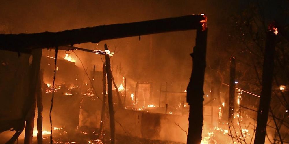 In einem Flüchtlingslager auf der griechischen Insel Samos hat es am Sonntag gebrannt.