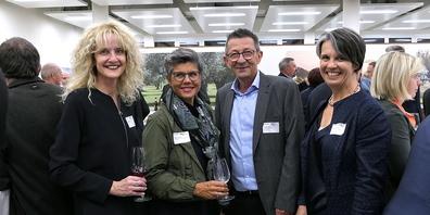 v.l. Präsidentin Brigitte Lüchinger und der AGV  Rheintal durften zahlreiche Gäste begrüssen, unter  ihnen  Sarah Peter Vogt, Gemeindepräsident Reto Friedauer und Sabina Saggioro