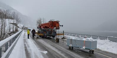 Die Tanks mit den Fischen wurden per Kranlastwagen in den See gehievt.Bild  Urs Attinger