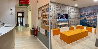 Frontdesk und Aufenthaltsraum der Sprachschule in Valletta. der Hauptstadt von Malta.