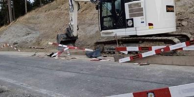 Umgefahrene Bauabschrankung in Walzenhausen.