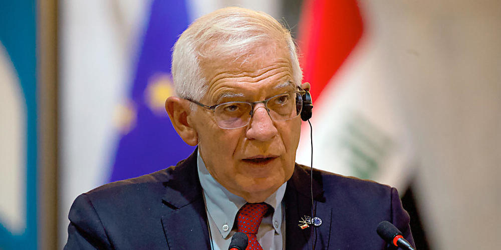 EU-Außenbeauftragter Josep Borrell spricht bei einer Pressekonferenz. Borrell erwartet Flüchtlingsströme aus Afghanistan als Folge des dortigen Regierungsumsturzes und der humanitären Notlage. «Die Menschen werden sich auf den Weg machen, wenn die...